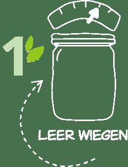 Illustration Nummer 1 – Behälter Leer wiegen im Unverpackt-Laden dargestellt durch einen leeren Behälter, der auf einer Waage steht