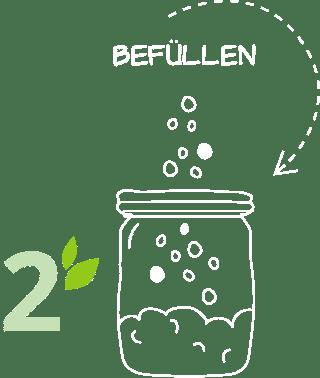 Illustration Nummer 2 – Behälter Befüllen im Unverpackt-Laden dargesellt durch einen leeren Behälter in den von oben Ware fällt