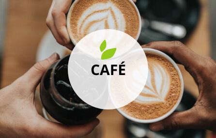 """Ein Foto auf dem man zwei Tassen Kaffee und ein Getränk, die anstoßen, von oben sieht. Davor der Schriftzug """"Café"""" und die grünen Blätter aus dem Logo."""