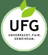 Logo UFG Unverpackt. Fair. Gemeinsam. Schriftzug in einem grünen Kreis mit zwei grünen Blättern am oberen Rand