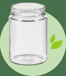 Foto eines leeren Schraubglases mit den grünen Blättern aus dem UFG Logo