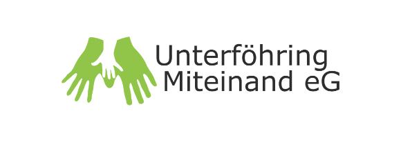 Logo Unterföhring Miteinand: zwei grüne Hände auf die sich eine kleine weiße Hand legt und der Schriftzug